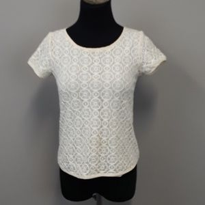 Cynthea Rowley lace short sleeve top size XS